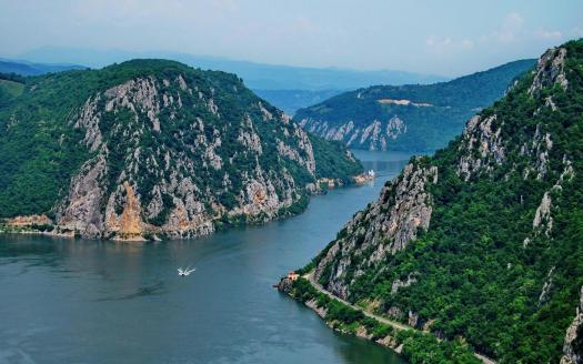 Romania Danube river canyon Iron Gates Portile de Fier Cazanele Dunarii .