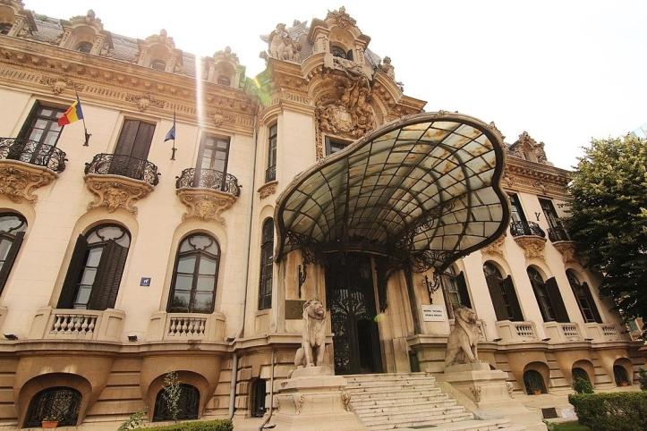 Cantacuzino palace entrance Romania architecture George Enescu museum