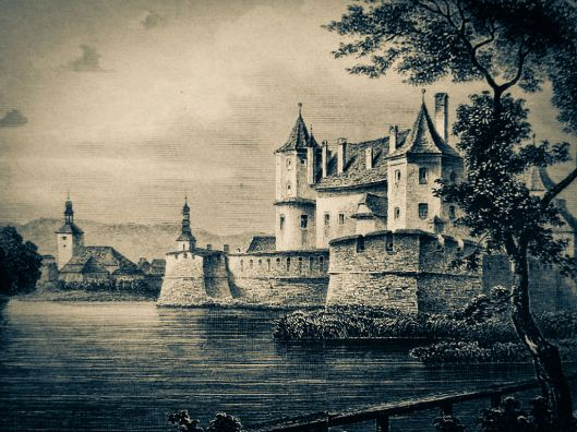 old painting of fagaras fortress
