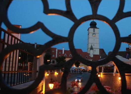 Sibiu tower night Romania eastern europe cities Transylvania