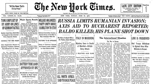 "New York Times June 30th 1940 ""Russia limits Romanian invasion. Axis aid to Bucharest reported"""