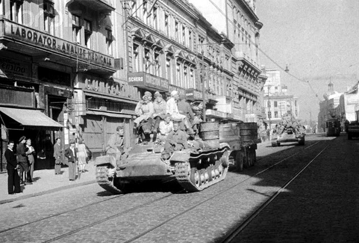 Soviet tanks occupy Bucharest in august 1944. The occupation was to last for more than a decade.