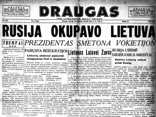 "Draugas newspaper headline ""Russia occupies Lithuania"""